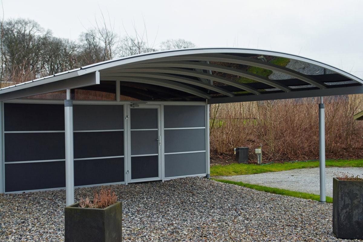 metalen carport gebogen dak